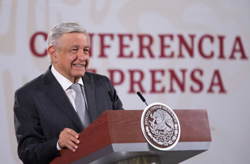 President López Obrador during today's briefing in National Palace.