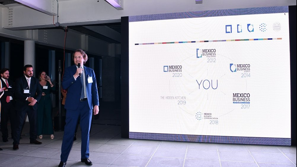Mexico Business Publishing's CEO Jeroen Posma makes a speech during the presentation