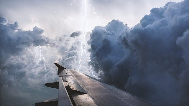 Aircraft during a storm