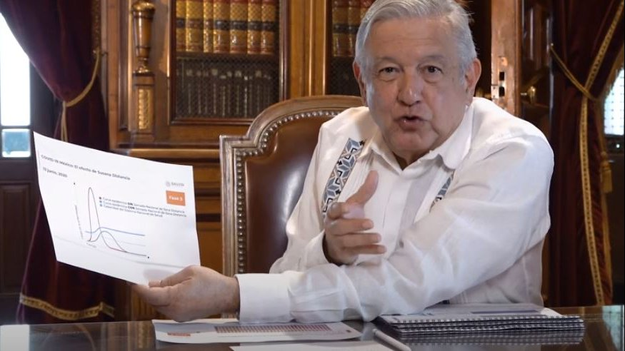 President López Obrador during his Sunday's video message in National Palace.
