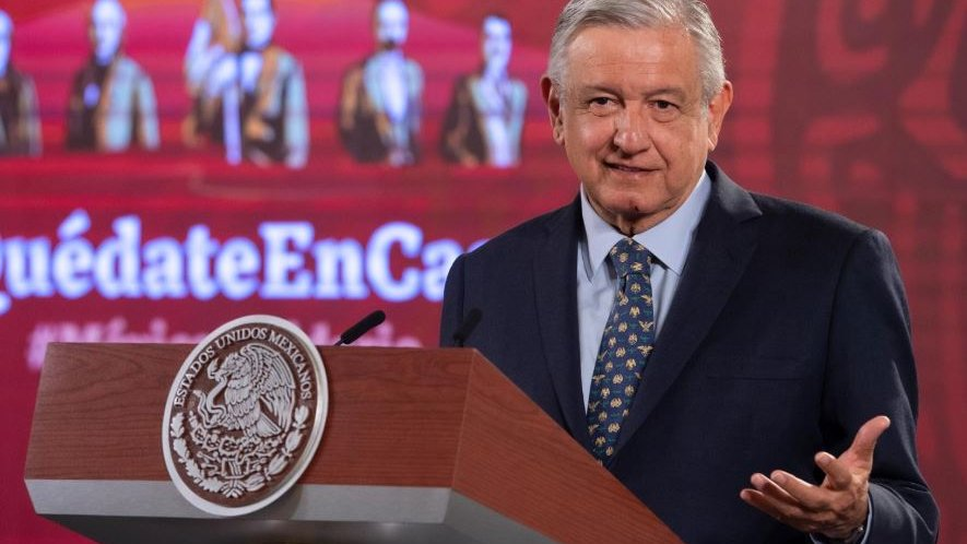 President López Obrador during June's 11 briefing in National Palace.