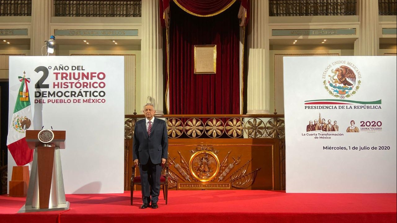 President López Obrador during the special message commemorating the second anniversary of his electoral victory.