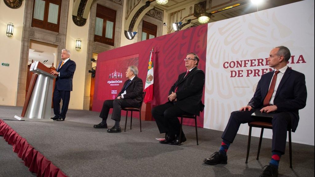 López Obrador, Alcocer Varela, Ebrard and López-Gatell at the Morning Press Conference