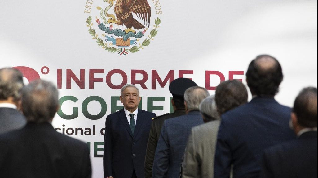 President López Obrador during the second State of the Nation address at the National Palace.