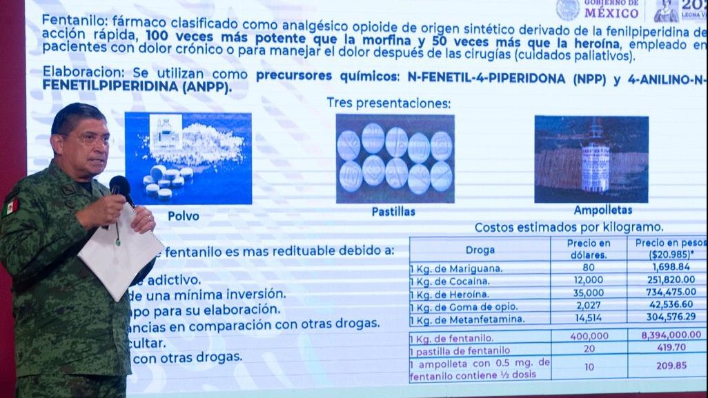 Minister of National Defense (Sedena) Luis Cresencio Sandoval detailed a report on fentanyl trafficking.