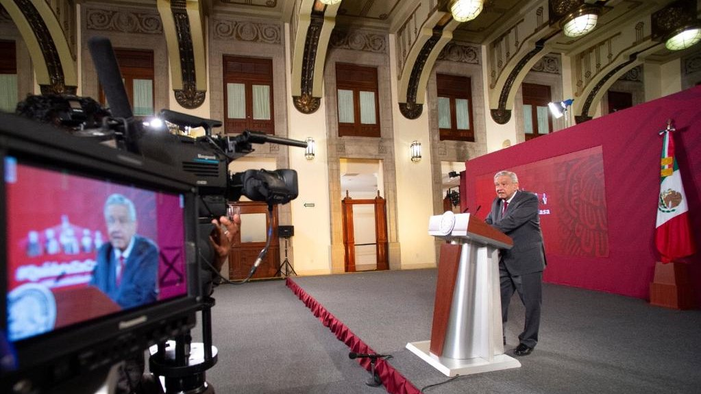President López Obrador during one of his traditional morning daily briefings in the National Palace.