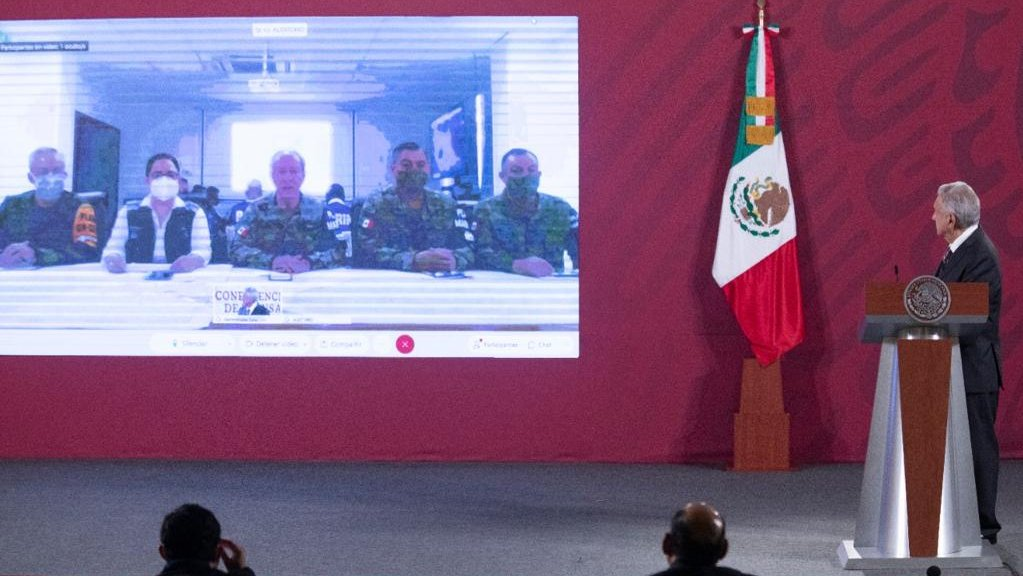 President López Obrador during his videoconference with officials handling Hurricane Delta contigency.