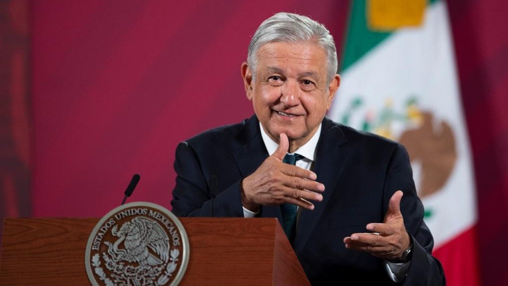 President Lopez Obrador during today's briefing in National Palace.
